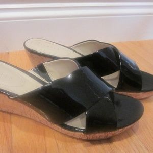 Nickels Black Patent Leather Criss-Cross Sandals